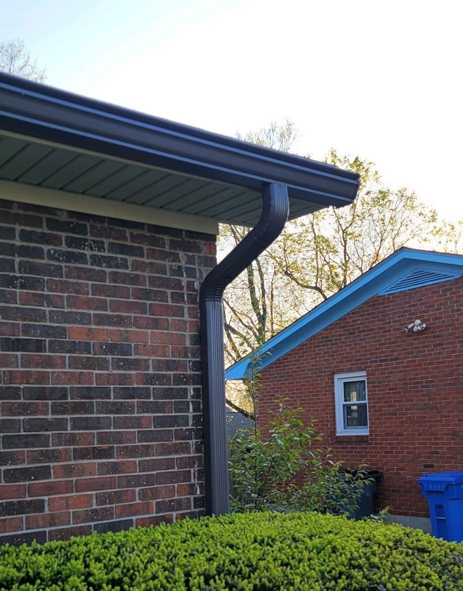 Dark gutters on home next to a home with a blue trim